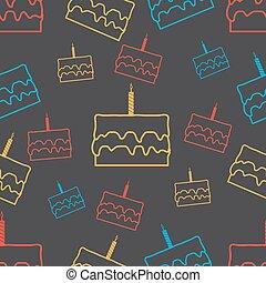 tårta, mönster, seamless, bakgrund