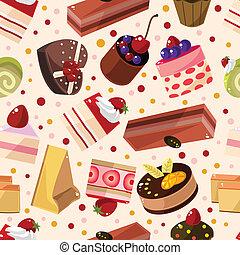 tårta, mönster, seamless