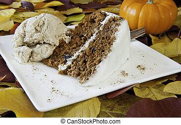Tårta, morot, is, grädde