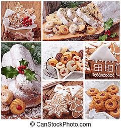 tårta, pepparkaka småkakor, jul, stollen