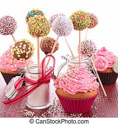 tårta, pop, och, cupcake