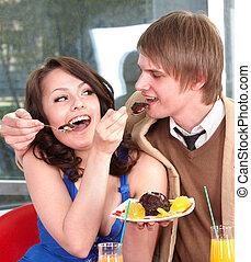 tårta, restaurant., äta, folk