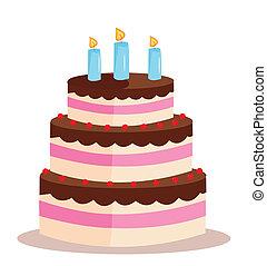 tårta, söt, födelsedag, helgdag