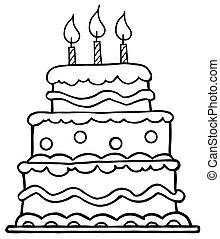 tårta, skissera, födelsedag
