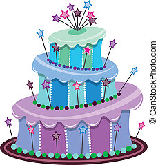 tårta, stor, födelsedag