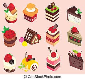 tårta, tecknad film, ikon