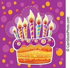 tårta, vaxljus, födelsedag, färgrik