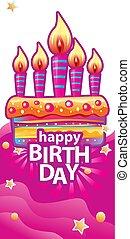 tårta, vaxljus, födelsedag kort