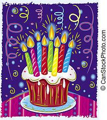 tårta, vaxljus, födelsedag