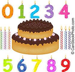 tårta, vaxljus, olik, födelsedag, bilda