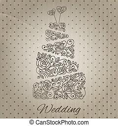 tårta, vektor, bröllop
