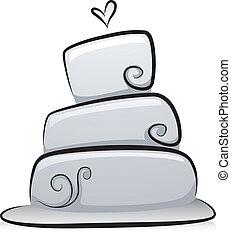 tårta, vit, svart, bröllop