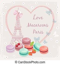 tårtor, affisch, eiffel, fransk, mandelkaka, torn