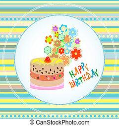 tårtor, blomma, födelsedag, vektor, design., firande, kort, lycklig