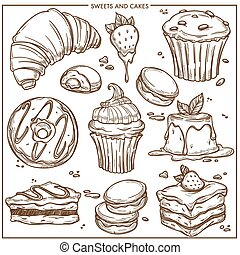 tårtor, cupcakes, söt, skiss, efterrätter, bageri, icons.