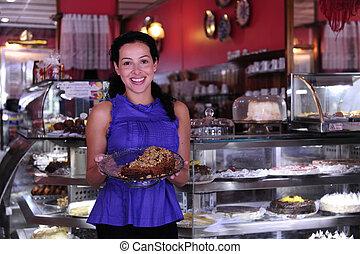 tårtor, henne, affär, visande, ägare, smaklig, liten, lager