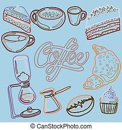 tårtor, pastell, kuper, maskin, stil, cezve, sätta, giffel, kaffe, chemex, vektor, cupcake, kaffe, printing., färger, nät, linjär, hand-drawn