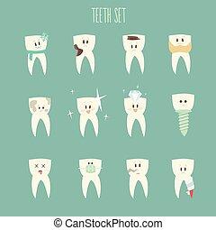 tænder, ikon, sæt, begreb, i, sunde, vektor, illustration,...