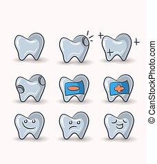 tænder, sæt, på hvide, baggrund, ., vektor