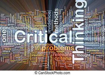 tænkning, glødende, begreb, kritisk, baggrund