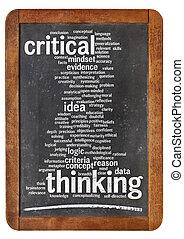 tænkning, kritisk, glose, sky