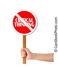 tænkning, tegn, kritisk, holde, afvisende, hånd, rød