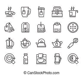 tè, appartamento, icone