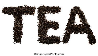 tè, bianco, sfondo nero