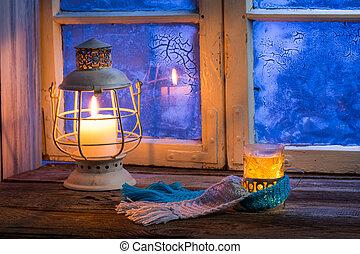 tè, caldo, sera, inverno, soltanto