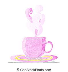 tè, cartone animato, tazza