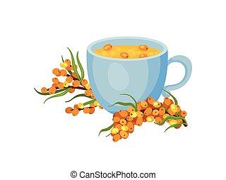 tè, ceramica, illustrazione, fondo., tazza, vettore, mare, buckthorn., bianco