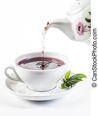 tè, colatura, bianco, tazza fresca