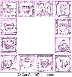 tè, cornice, otri, mano, disegno, disegnato, campanelle