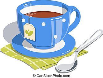 tè, cucchiaio, tazza
