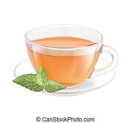 tè, cup.