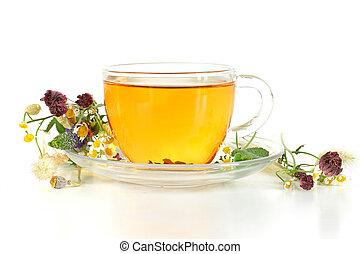tè erbaceo, sfondo bianco