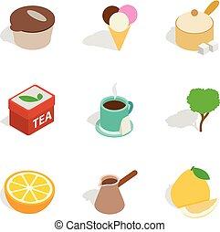 tè, godimento, icone, set, isometrico, stile