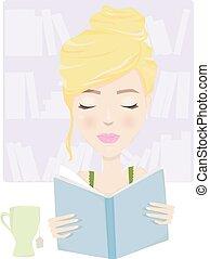 tè, libro, rilassante
