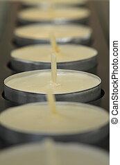 tè, luce, candele, in, uno, linea diritta