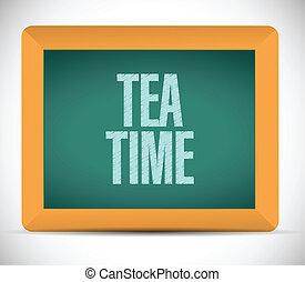 tè, messaggio, disegno, illustrazione, tempo
