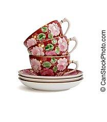 tè, pila, campanelle, isolato, tre