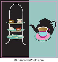 tè pomeriggio, vettore, retro, fondo, con, uno, cake-stand,...