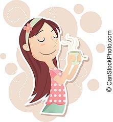 tè, ragazza, inalare, aroma