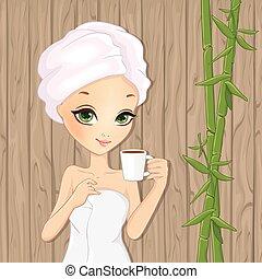 tè, ragazza, rilassante, tazza