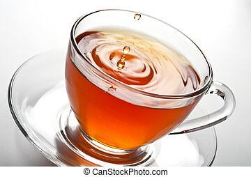 tè, schizzo, vetro, tazza