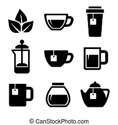 tè, set., vector., icone