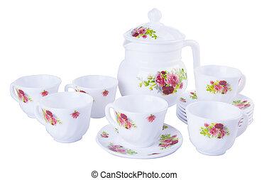 tè, sets., tè, serie, su, uno, fondo