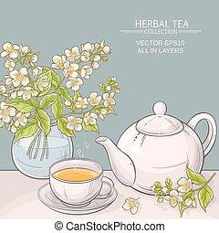 tè, vettore, gelsomino, illustrazione
