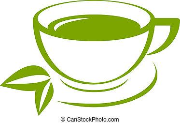 tè, vettore, verde, icona, tazza