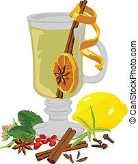 tè, vita, ancora, spezie